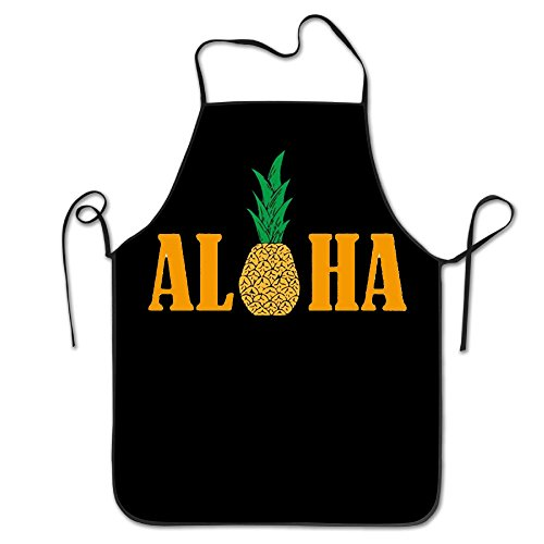 Hawaii Pineapple Aloha Adjustable Bib Apron Adult Home Kitchen Apron Chef Apron For Men And Women ()