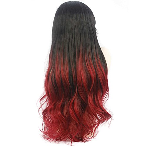Heat Resistant Hair Ombre Black And Red Synthetic Lace Front Wig For Women Curly Silky Straight Lace Wigs Half Hand Tied (30