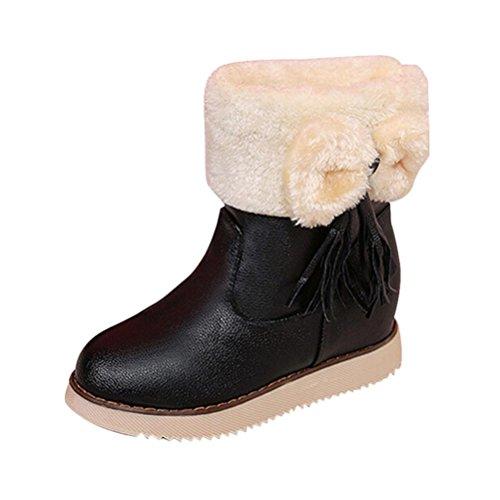 Ama (tm) Kvinners Bowknot Fuskepels Foret Vinter Snø Boot Flat Ankel Boots  Sko Svart