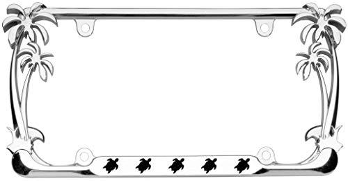 - Turtle Animal Palm Tree Design Chrome Metal Auto License Plate Frame Car Tag Holder