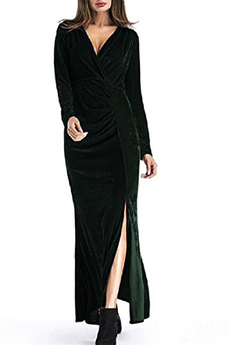 Lunga Velluto V Sera Manica Di Verde Spaccato Maxi Coolred donne Nerastro A Involucro Vestito Scollo tqHwX71