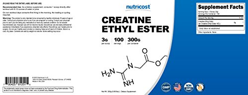 Nutricost Pure Creatine Ethyl Ester Powder (CEE) 300 Grams - Rapid Absorption Creatine - 3g Per Serving - 100 Serv