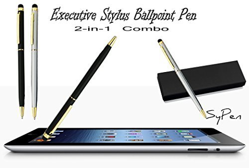Executive Slim Line Ultra Sensitive Ballpoint Stylus/Styli Pen Set: Black & Silver with Gold Trim For Touch Screen Cell phone, Tablets, Computer (Pens From Target compare prices)