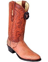 Men's Round Toe Genuine Leather Teju Grasso Lizard Skin Western Boots - Exotic Skin Boots