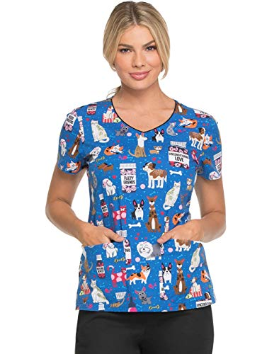 dickies EDS V-Neck Scrub Top, XS, Unconditional Love