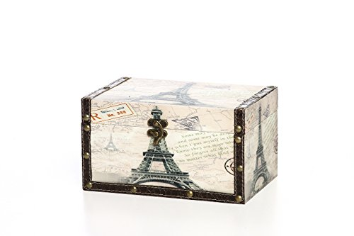 "Hosley's Small Paris Wooden Keepsake/Gift/Decorative Storage Box, 8.9"" Long , To keep all your mementos in one place. Ideal Gift for weddings, House warming, Home office."