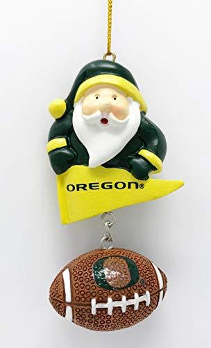 Oregon Ducks Santa - Oregon Ducks Santa & Football Christmas Tree Ornament - Officially Licensed