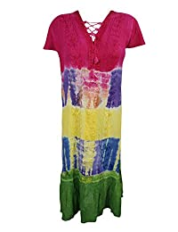 Mogul Womens Boho Dress Tie-Dye Embroidered Caftan Dress / Cover Up L