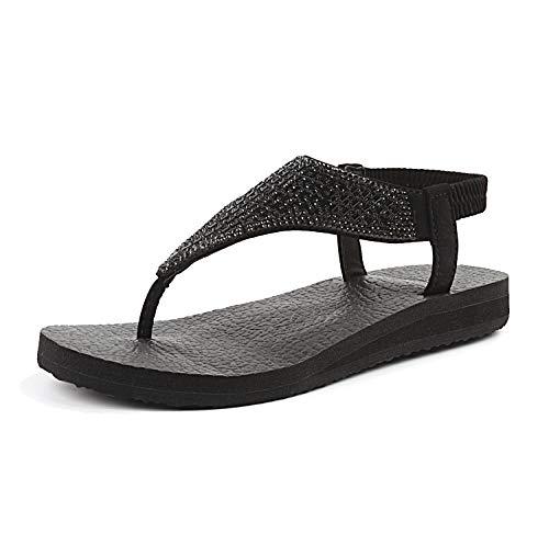 FITORY Womens Flip Flops Yoga Sling Rhinestones Flat Sandals Comfort Shoes Size 6-11