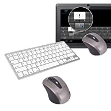 HDE Wireless Bluetooth Tablet Mouse and Silver Keyboard for Google Android 3.1+