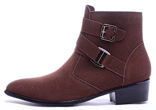 Buckle Zipper Chelsea Odema Pointed Brownfur Mens Toe PU Ankle Leather Boots Suede Suede S0FwaqS