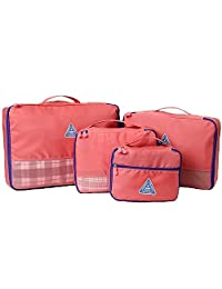 Passionate Adventure 4pc Travel Organizer Packing Cubes Luggage Compression Bag Watermelon Red