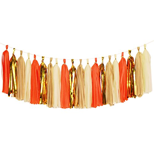 Orange Tassel (Koker Tassel Garland, Tissue Paper Tassels Banner for Wedding, Baby Shower, First Birthday Party Decorations, 20 pcs DIY Kits (Orange+Metallic Gold+Tan+Ivory))