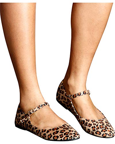 Top Moda Womens Sadie Almond Toe Mj Flats,Leopard,8.5