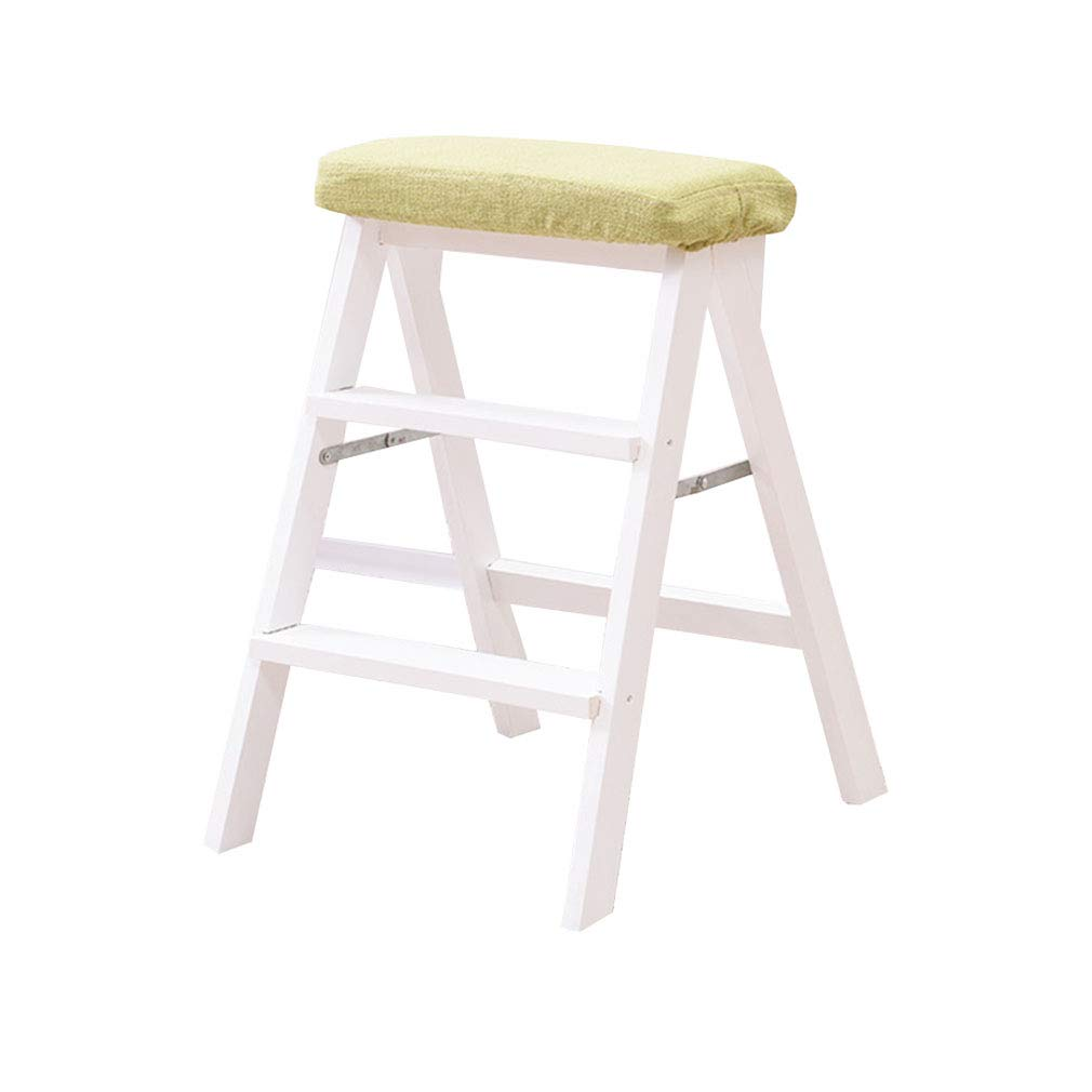 1 3 Step Ladder Stool with Cushion Solid Wood Folding High Foot Stool Bar Stool Flower Rack Shelves Multi-Function (color    1)