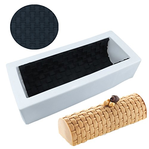 Silicone Wall Mat Shape Non-Stick Cake Molds DIY Twinkie Bar Muffin Mousse Brownie Roll Dessert Bakeware Cakes Pan Mold Tools, 1pcs, Weave Shape