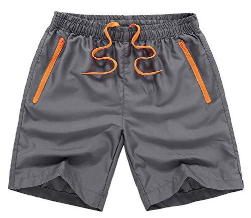 Mens 7 Inch Side Zipper - MADHERO Men Swim Trunks with Zipper Pockets Quick Dry Bathing Suits Mesh Lining,Dark Grey,Size L