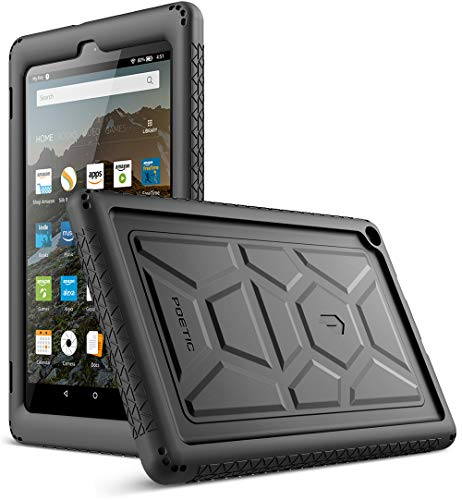 (Poetic TurtleSkin Case for All-New Amazon Fire HD 8 Tablet (7th and 8th Generation, 2017 and 2018 Release) - Heavy Duty Silicone case and Sound-Amplification Feature Cover -)