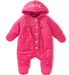 Juicy Couture Baby Girls\' Velour Hooded Pram, Hot Pink, 0-3 Months