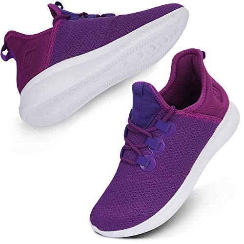 (Scurtain Breathable Flyknit Sneakers for Womens Casual Walking Athletic Running Shoes Purple 9.5M US)