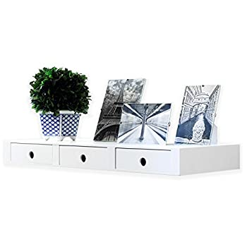 Wallniture Wall Mountable Floating Shelf Storage Organizer with 3 Drawers in White
