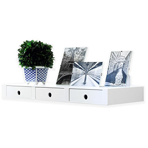 Amazon.com: Wallniture Wall Mountable Floating Shelf Storage Organizer With  3 Drawers In White: Home U0026 Kitchen