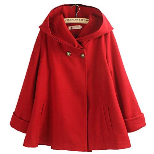 【ジンピン】カレッジ日本の女性のソリッドカラーのフード付きの厚いロングウールコート小さなクローク春と秋の女性の服