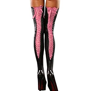 YJYdada Sexy Club Women Comfortable Thigh-high Stockings Leather Lace Bow Long Socks (Pink)