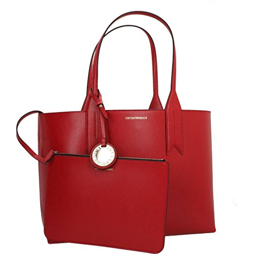 Armani Tote nero Money Women's 88158 Pouch Rosso With Emporio Shopping dtqRxdO