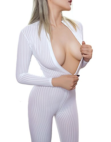 Kingmistres Sexy Bridal White Front Zip Vertical Stripes Spandex Zentai Catsuit Bodysuit Night Club Costume