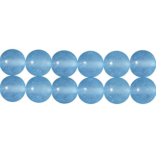 Aqua Blue Chalcedony Semi Precious Stone Smooth Round 12mm Loose Spacer Beads for DIY Necklaces Bracelet Earrings Fashion Jewelry Making Supplies One Strand 15 Inch APX 30 Pcs