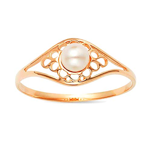 (Jewel Connection White Pearl Classic Vintage Style Ring in 14K Yellow Gold (7) )