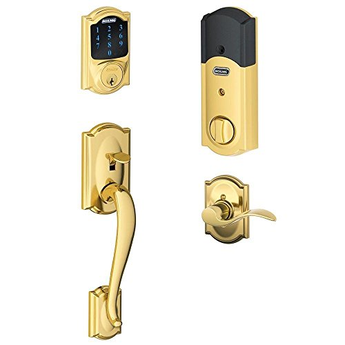 - Schlage Connect Camelot Touchscreen Deadbolt with Built-In Alarm and Handleset Grip with Accent Lever, Bright Brass, FE469NX ACC 605 CAM LH, Works with Alexa