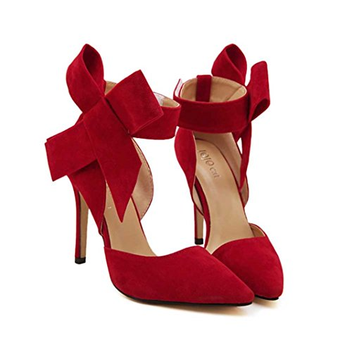 Toe Bow hunpta Women Tie With Size Bow Red A Pumps Shoes With Sharp Big Stilettos Plus RwvnqwCfp