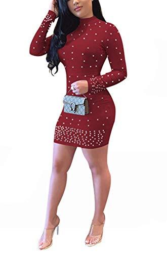 Bluewolfsea Womens Casual Long Sleeve Mock Neck Beaded Bandage Bodycon T Shirt Mini Dress X-Large ()