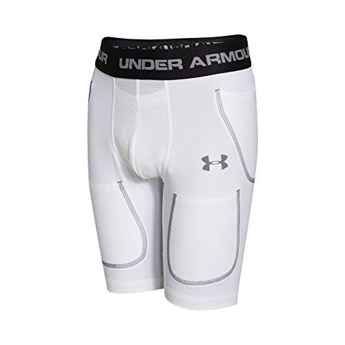 Under Armour Boy's 6-Pocket Football Girdle, White/Steel, Youth (6 Pocket Football Compression Girdle)