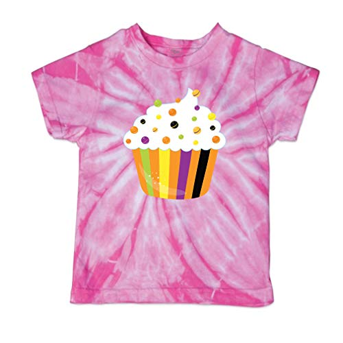 Cute Rascals Halloween Cupcake Short Sleeve Crewneck Baby Boys-Girls Cotton Tie Dye T-Shirt Fine Jersey - Pink, 4T ()