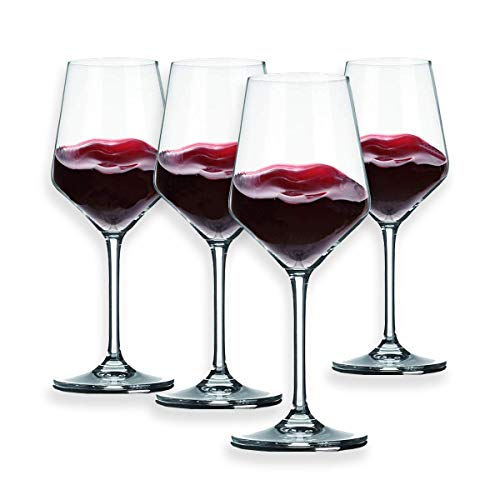 Berglander Red Wine Glasses 13 Ounce,Lead Free, Made of Premium Crystal Glass, Perfect for Parties, Wedding, Events, 390mL, Set of 4 (Glasses Red Wine)