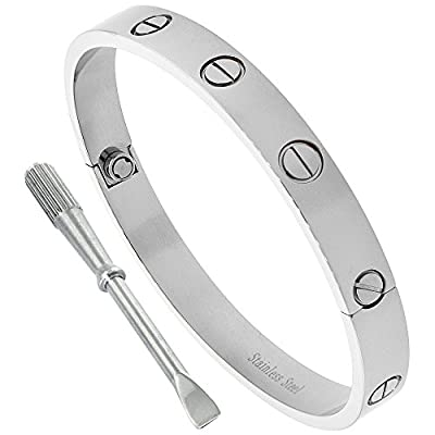 Stainless Steel Screws Bangle Bracelet for Women Oval High Polish 7mm wide, fits 6.5 -7.75 inch wrists