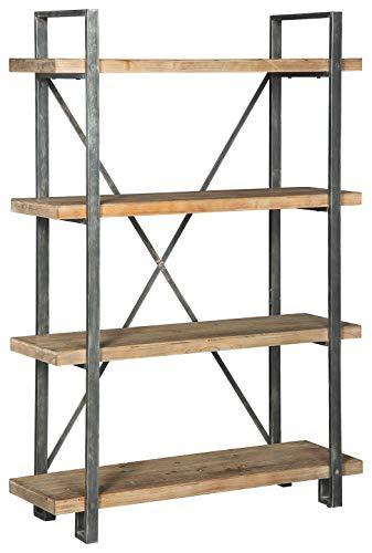 Ashley Furniture Signature Design - Forestmin 4-Shelf Bookshelf - Medium Brown Finish - Gray Finished Metal