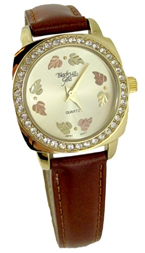 Women's Black Hills Gold Watch Leather Band Champagne Face 8 12K Gold Leaves ()