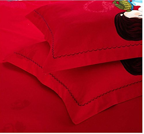 DHWM-Wedding wear wool 4 piece set, pure cotton bed linen, cotton thick couples Red 4 piece ,2.0m
