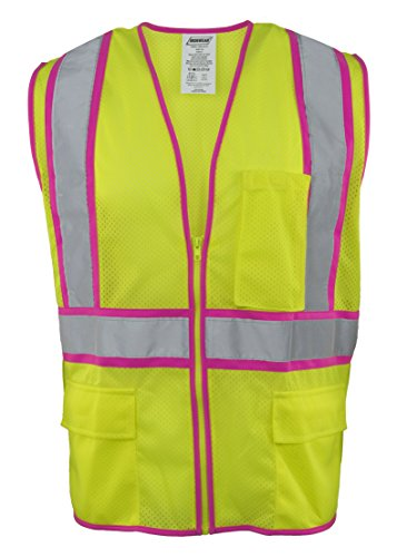 (Ironwear 1284-LZ-PT-7-4XL ANSI Class 2 Polyester Mesh SAFETY Vest with Zipper & 2