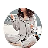 Little Happiness Flannel Flower Print Pattern Pajamas Sets Women Cute Sleepwear Female Fleece Nightwear Mujer,Gray,XXL