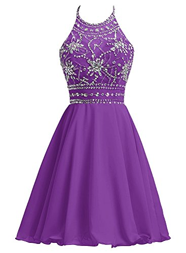 (Aiyi Womens Beads Halter Neck Chiffon Prom Dress Short Evening Party Gown Purple US)