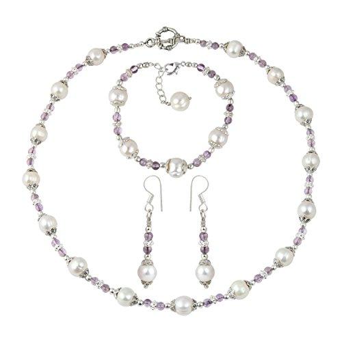 water Pearl Amethyst Brazilian Fashion Necklace Earrings Bracelet Jewelry Set ()