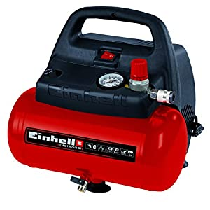 Einhell TH-AC 190/6 OF – Compresor de aire, 8 bar, depósito 6 l, aspiración 185 l /min, 1100 W, 230 V, color rojo y…