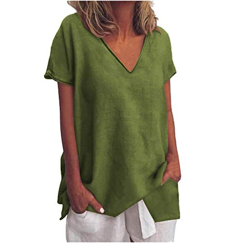 Tantisy ♣↭♣ Womens Tops Summer V-Neck Short Sleeve Solid Tee Fashion Swing Casual Flowy Loose Blouses Green