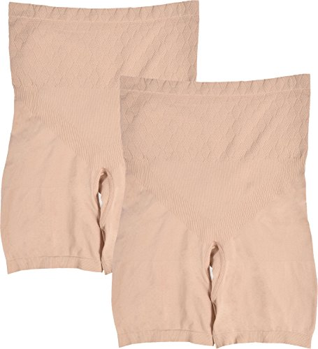 WunderWear Women's Long Leg Seamless Firm Control Compression Briefs Pack of 2 Nude Size 2XL