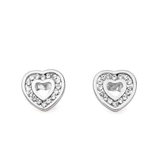 Sterling Silver Rhinestone Crystal Hollow Heart Shaped Stud Earring -